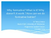 Why formative? What is it? Why doesn't it work? How can we do it better?