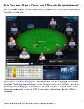 Poker tournament strategy question.