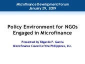 Policy Environment For NGOs Engaged...
