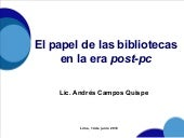 Las bibliotecas en la era post-pc
