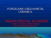 Porcelines used in metal ceramics/G...
