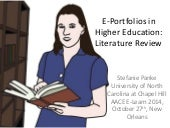 E-Portfolios in Higher Education Settings - A Literature Review