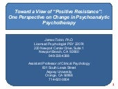 "Toward a View of ""Positive Resistan..."