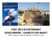 Post 2015 and Sustainable Development