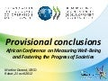 Provisional conclusions - African Conference on Measuring Well-Being and Fostering the Progress of Societies