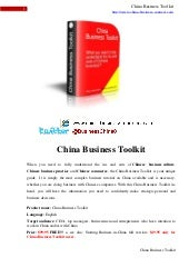 China Business Toolkit