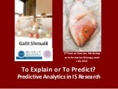 Predictive analytics in Information Systems Research (TSWIM 2015 keynote)