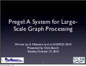 Pregel: A System for Large-Scale Graph Processing