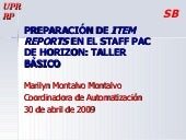 Preparación de Item Reports de Horizon
