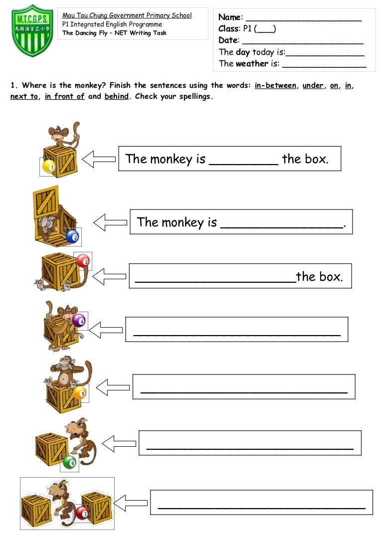 Worksheet Preposition For Kindergarten preposition of place in on at worksheets prepositions grammar math worksheet time and place