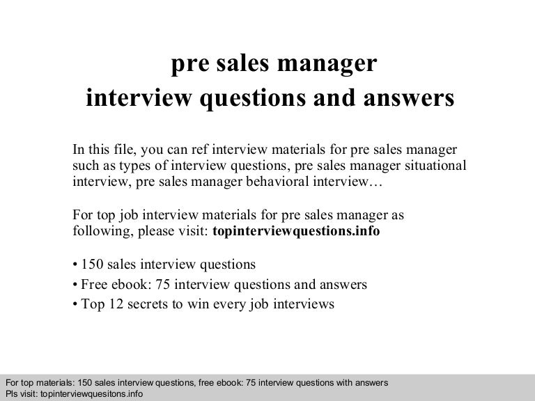 pre  s manager interview questions and answers