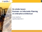 De relatie tussen Business- & Informatie Planning en enterprise-architectuur