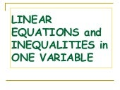Linear Equations and Inequalities i...
