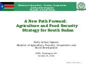 A New Path Forward: Agriculture and...