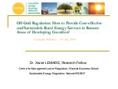 Webinar - Off grid regulation - How...