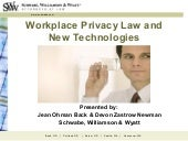 Workplace Privacy Laws and New Tech...