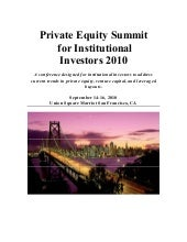 Private Equity Working Agenda