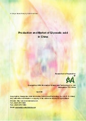 Production and Market of Glyoxalic Acid in China