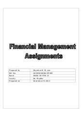 Project Finance management assignment