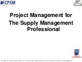 Project management for the supply m...