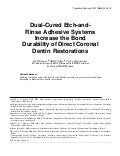 Dual-cured Dental Adhesives Operative Dentistry