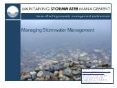 Managing Stormwater Management for ...