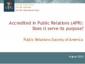 Accredited in Public Relations (APR): Does it serve its purpose?