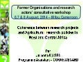 Coherence between research projects and Agricultural  research policies in West and Central Africa
