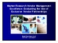 Market Research Vendor Management Excellence Report Summary