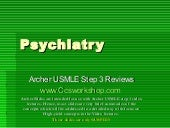 Psychiatry - Archer USMLE step 3