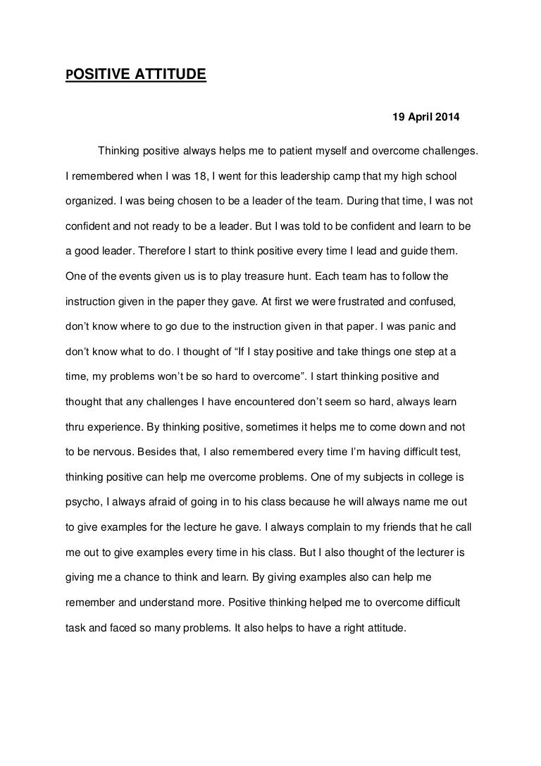 Positive thinking essay
