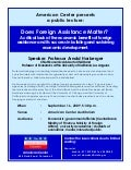 Public Lecture - Does Foreign Assistance Matter