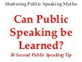 Public speaking can it be learned