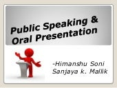 Public speaking & oral presentation