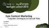 6 Forgotten Ways to Use Content for Lead Nurturing #LeadGenSummit