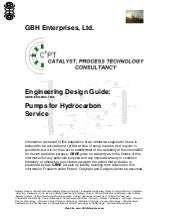Pumps for Hydrocarbon Service