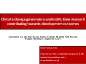Climate change governance and institutions research contributing towards development outcomes