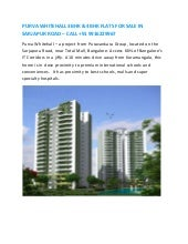 PURVA WHITEHALL 3BHK & 4BHK FLATS FOR SALE IN SARJAPUR ROAD – CALL +91 9916229967