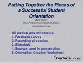 Putting Together the Pieces of a Successful Student Orientation