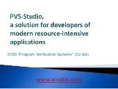 PVS-Studio, a solution for develop...
