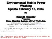 Environmental Cleaning Update 2-13-04