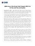 Qnb wins at the smart card awards 20QNB wins at the Smart Card Awards 2012 for its Tap and Pay card option12 for its tap and pay card option (1)