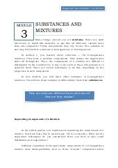 Qtr 1 module 3 substances & mixtures