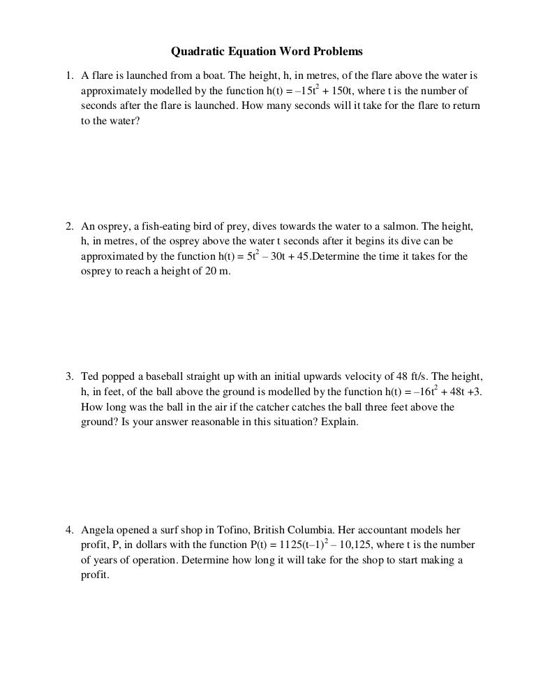 Worksheet Quadratic Formula Word Problems Worksheet Answers quadratic equation word problems