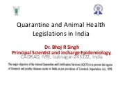 Quarantine and animal health legisl...