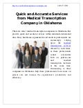 Quick and Accurate Services from Medical Transcription Company in Oklahoma