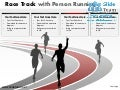 Race track with person running business race winner powerpoint presentation templates.