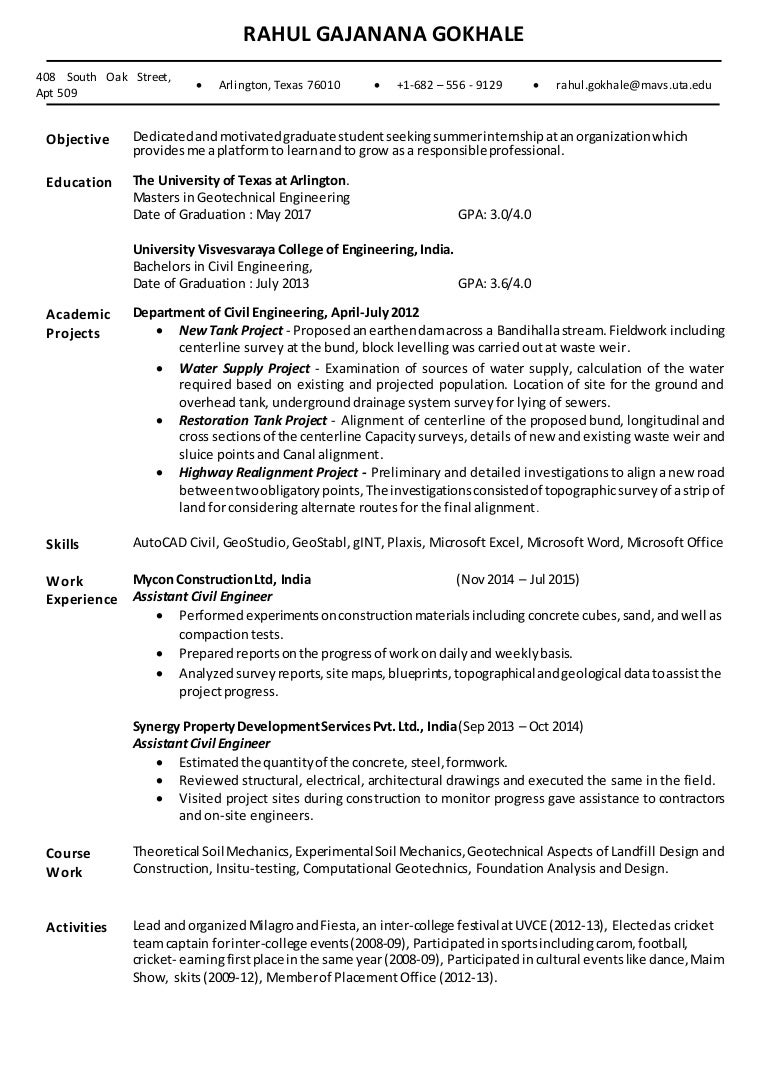 geotechnical engineer sample resume geotechnical engineer sample resume - Dam Safety Engineer Sample Resume