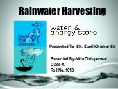 Rain water harvesting - Need of the...