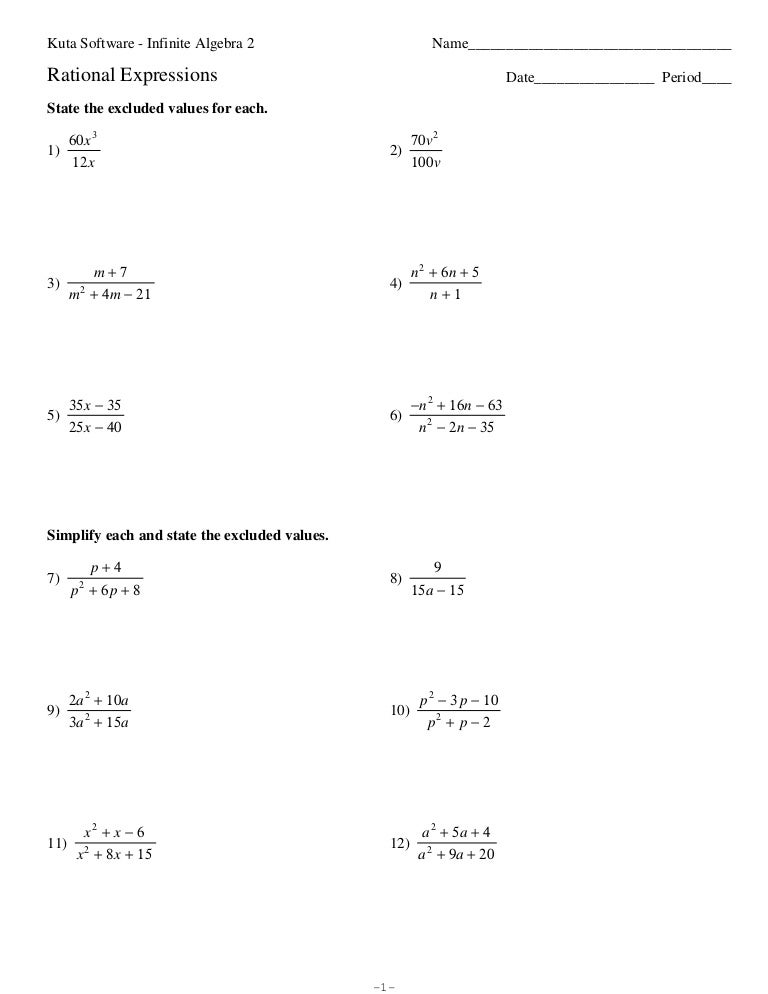 Worksheet Kuta Software Infinite Algebra 1 Worksheet Answers rationalexpressionsreview pdf